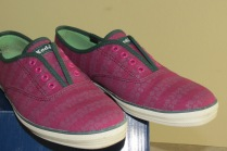 Keds Laceless Canvas Shoe in Floral Stripe Fuchsia
